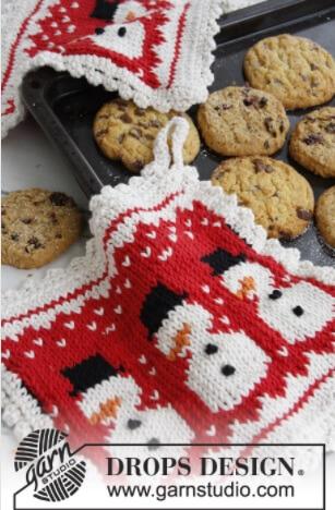 3 Little Snowmen Potholder Pattern by DROPS Design