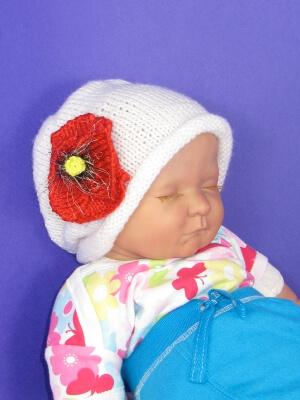 Baby Poppy Flower Slouch Knitting Pattern by madmonkeyknits