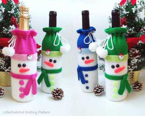 Bottle Covers for Wine and Champagne Easy Snowman Knitting Pattern by KnittingPatternsGuru