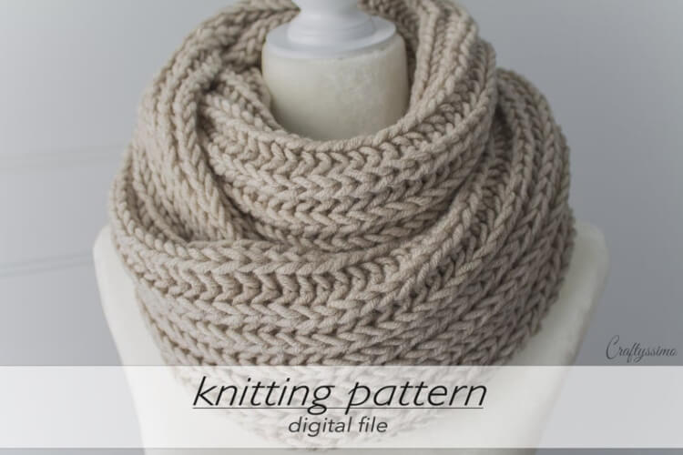 Brioche Rib Stitch Infinity Scarf Knitting Pattern by Craftyssimo