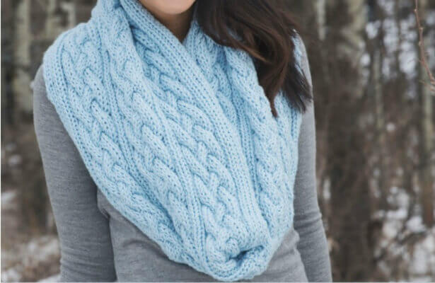 Cable Infinity Scarf Knit Pattern with Braided Cables by Leelee Knits