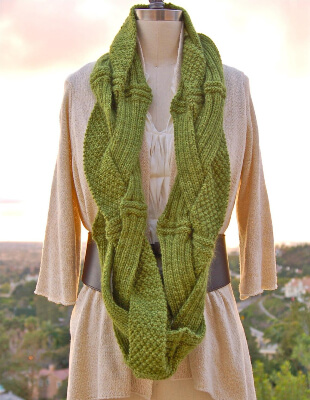 Challah Infinity Scarf Knit Pattern by PamPowersKnits