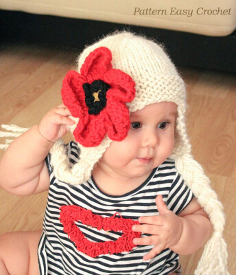 Earflap Hat with flower Poppy Knitted Pattern by Easycrcohet