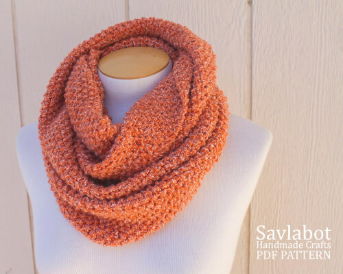 Easy Knit Infinity Scarf Pattern for Beginners by Savlabot
