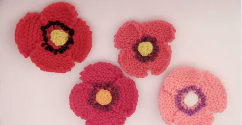 Flower Poppy Knitted Pattern for Remembrance Day