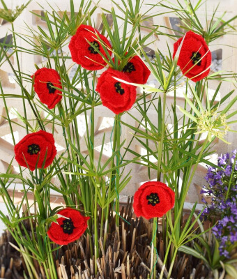Full Stem Poppies Knitted Pattern by iKnitDesigns