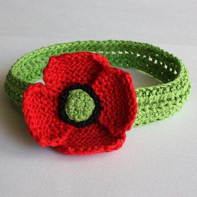 Headband Poppy Knitted Pattern from loasidellamaglia