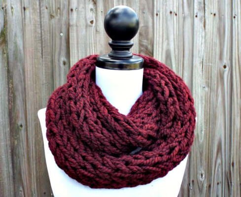 Polar Chunky Knitted Infinity Scarf by pixiebell