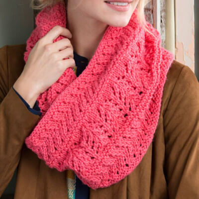 Red Heart Covet this Lacy Cowl from Yarnspirations