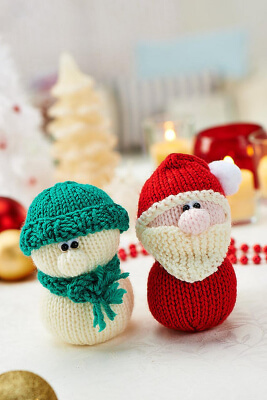 Santa and Snowman Toy Doll Knitting Patterns by fluffandfuzz