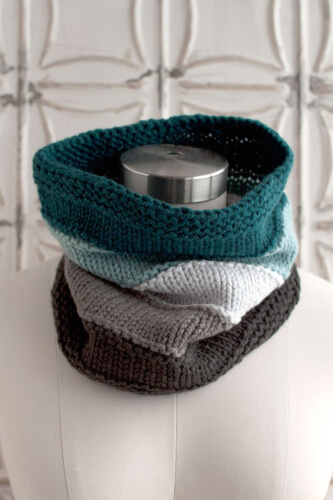 Blue Stone Bridge Knitted Cowl Scarf Pattern from O-Wool