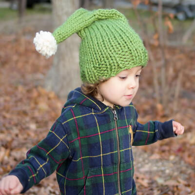 Cheerful Knitted Elf Hat Pattern by Gina Michele