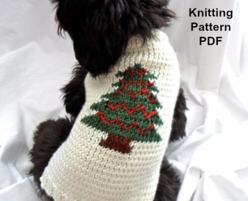 Christmas Dog Sweater Knitting Pattern by InspiredByMocha