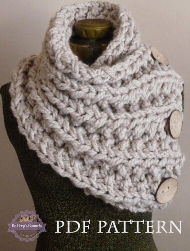 Chunky Button Neckwarmer Knitted Cowl Scarf by BoPeepsBonnets (1) (1)