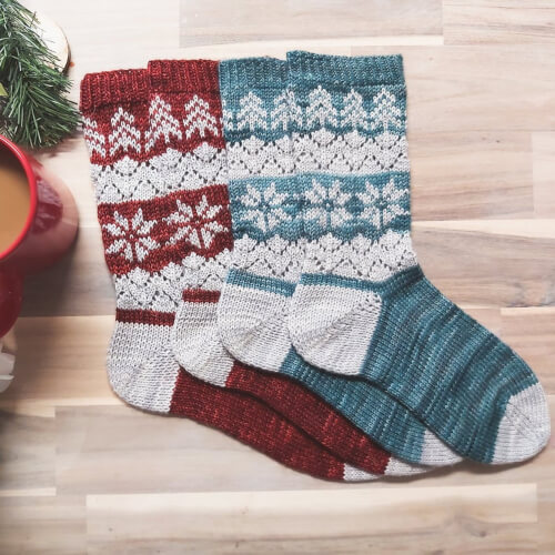 Colorwork Sock Knitting Pattern by FiberandFernDesigns