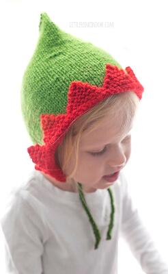 Elf Pixie Bonnet Hat Knitting Pattern by LittleRedWindow