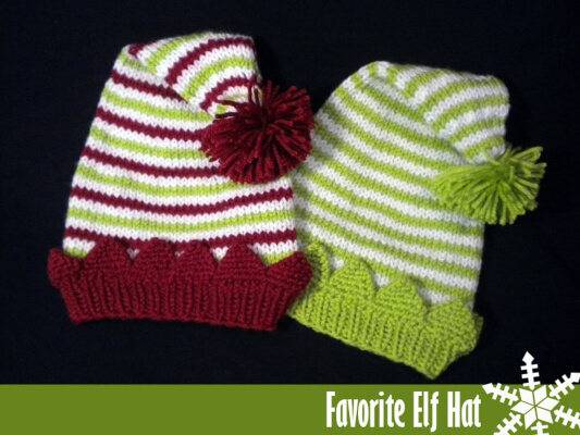 Favorite Elf Hat for the Family Knitting Pattern by AuntJanetsDesigns