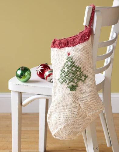 Festive Tree Stocking Pattern from Lion Brand Yarn