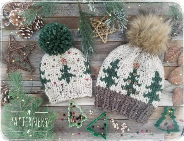 HAT Noel Trees Super Bulky Knitted Christmas Tree Pattern by Patternery