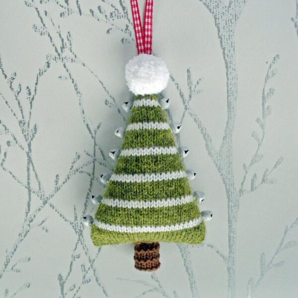 Jingle Bells Christmas Tree Knitting Pattern Hanging Decoration by BooBiloo