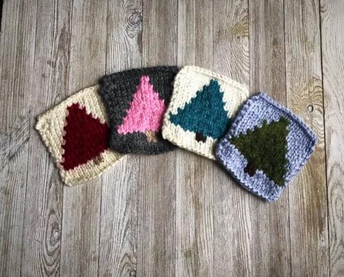 Last minute Bulky Tree Coasters Knitting Pattern by SealedbyaKris