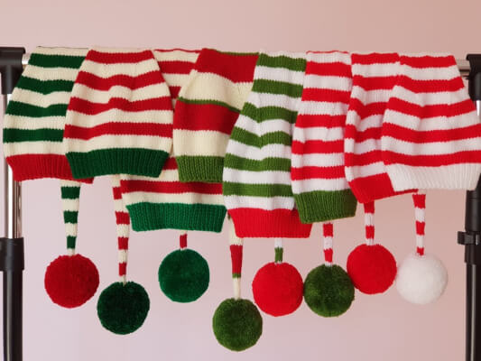 Long Tail Christmas Knitted Elf Hat with Pom Pom Pattern by Elifiori