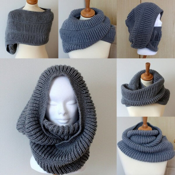Oxford Hooded Knitted Cowl Pattern by Loasidellamaglia