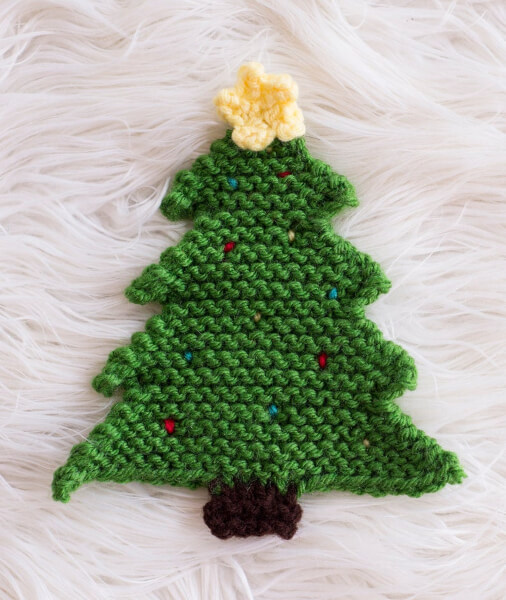 Pot Holder Easy Christmas Tree Knitting Pattern by MelodysMakings