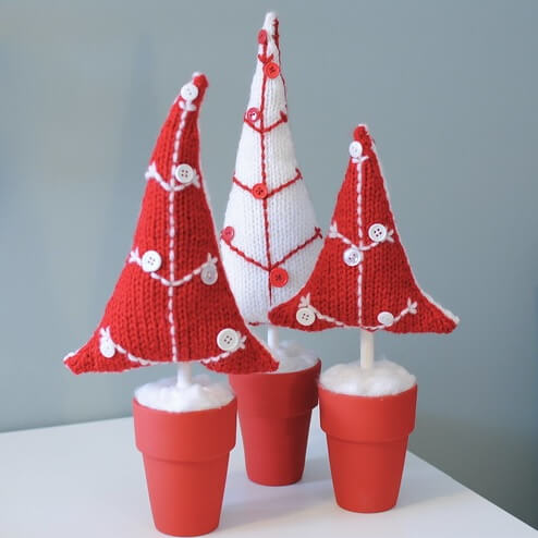 Potted Button Knit Christmas Tree Pattern from Just Craft Enough