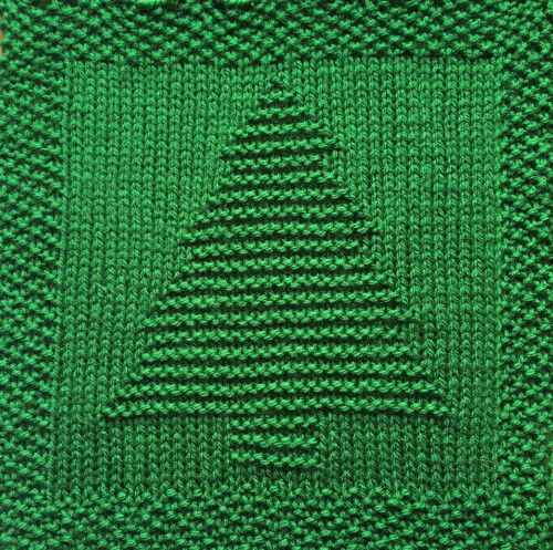 Washcloth or Afghan Square Knitted Christmas Tree Pattern by DaisyAndStorm