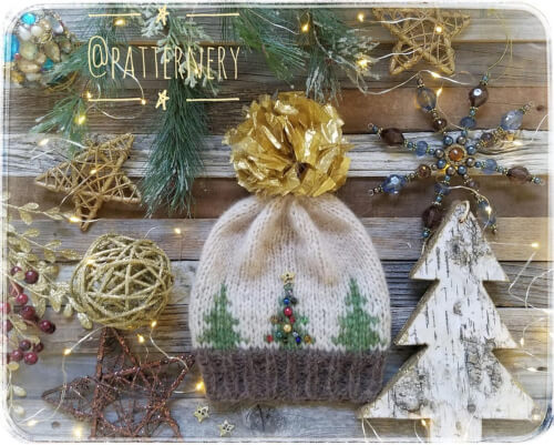 Worsted Hat Festive Christmas Tree Knitting Pattern by Patternery