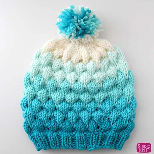 Bubble Beanie Hat Pattern for Knitters by Kristen McDonnell