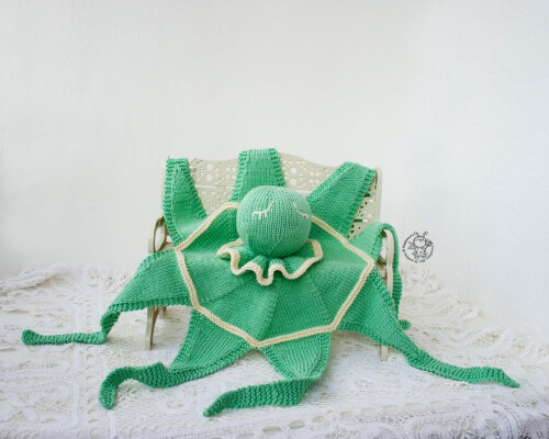 Knitted Octopus Toy Baby Lace Flat Blanket by simplytoys13