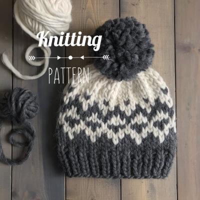 North Wind Beanie Knitting Pattern by LizzyKnitsShop