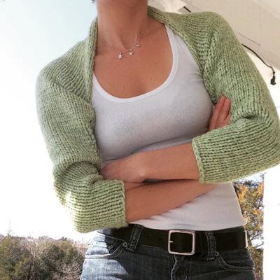 Sea-Green Free Shrug Knitting Pattern by Marni Reecer