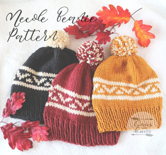 The Necole Knitted Beanie Pattern by LettersandKnits