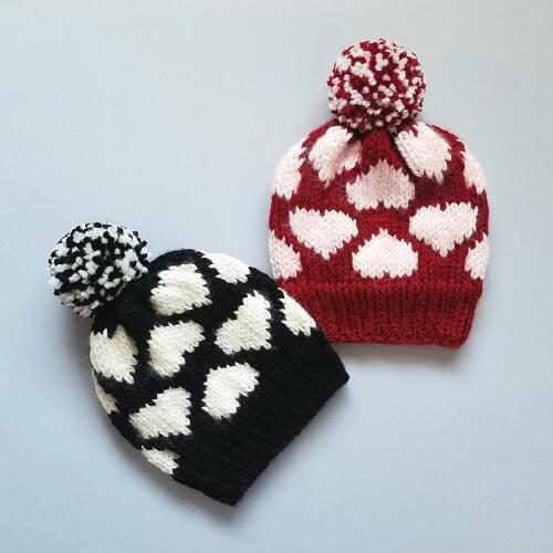 Valentine's Heart Hat Pattern by SusanKnitsDesign