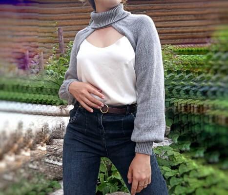 Woman Sexy Shrug Knitting Pattern by Puon Sweater