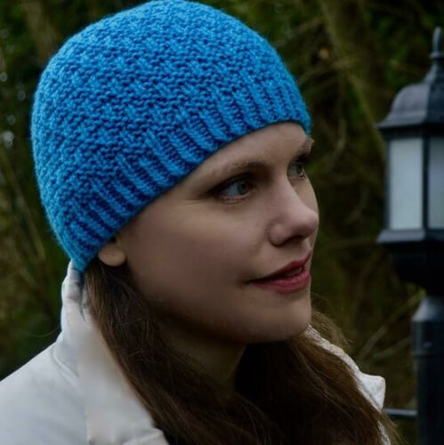Woven Together Easy Knit Beanie Pattern from Hanks and Needles