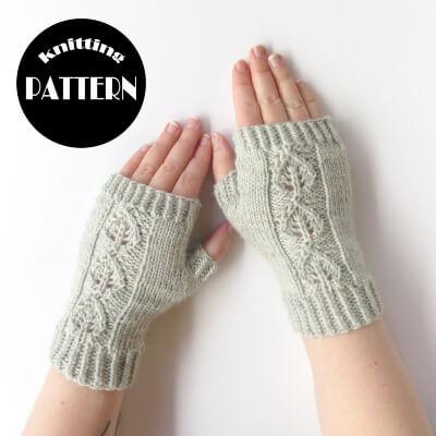Alpaca Fingerless Gloves Knitting Pattern by Morganknitspatterns