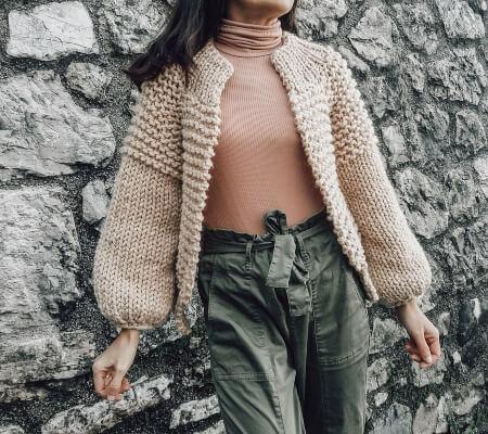 Bomber Jacket Knitting Pattern for Cardigan by HobiholikFashion