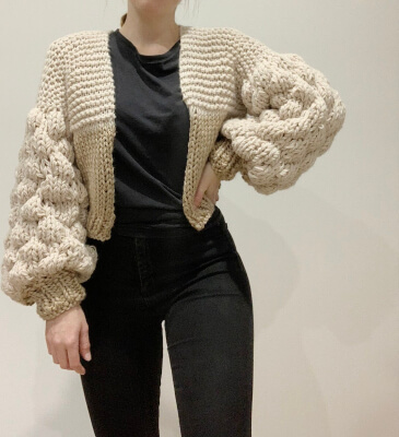 Bubble Sleeve Cardigan Knitting Patterns for ladies by Girlthatmakes