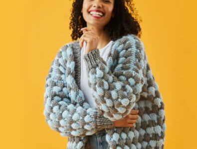 Bubble Stitch Free Knitted Cardigan Pattern by Paintbox Yarns