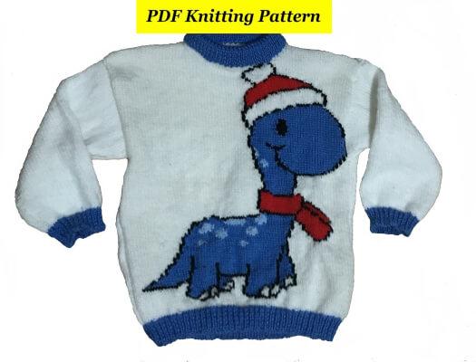Childrens & Adults Dinosaur In Christmas Hat Jumper by BlondiesKnitDesigns