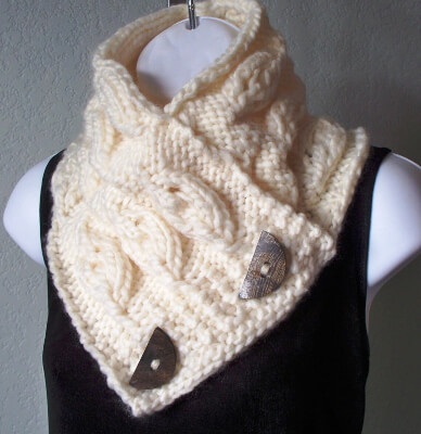 Cream Chunky Embossed Leaf Button Scarf by HandKnitArtisans