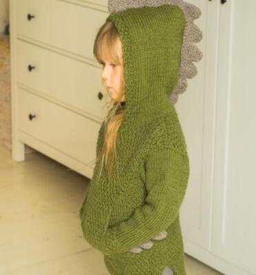Dragon Hooded Sweater Dinosaur Knitting Pattern by Muki Crafts