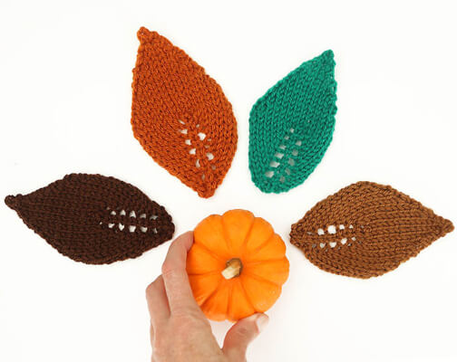 Easy Leaf Knitting Pattern by Gina Michele