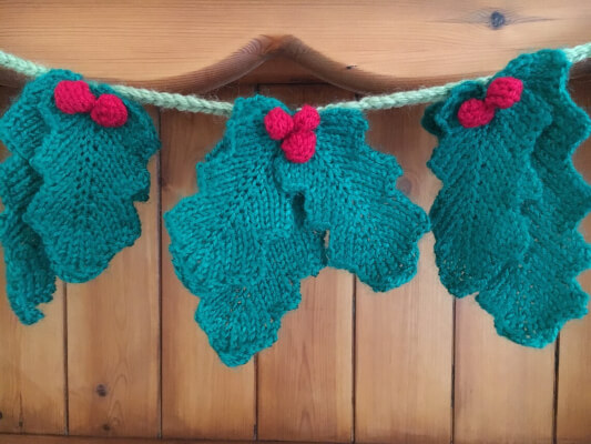 Holly bunting Knitted Leaf Pattern Christmas decoration by Ladyship Designs