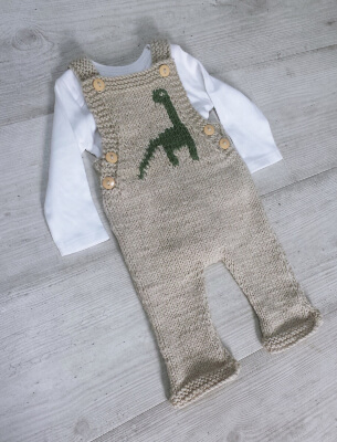 Knitted Dinosaur Dungaree Pattern by WhatMamaKnits