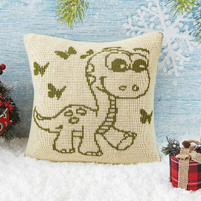 Knitted Dinosaur Pillow Pattern by Veriona
